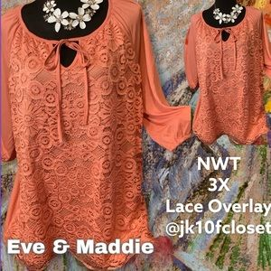 NWT Eve & Maddie 3X Coral Lace Overlay Top